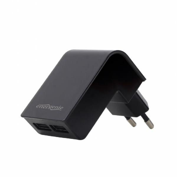 Gembird 2-port universal USB charger, 2.1 A, black