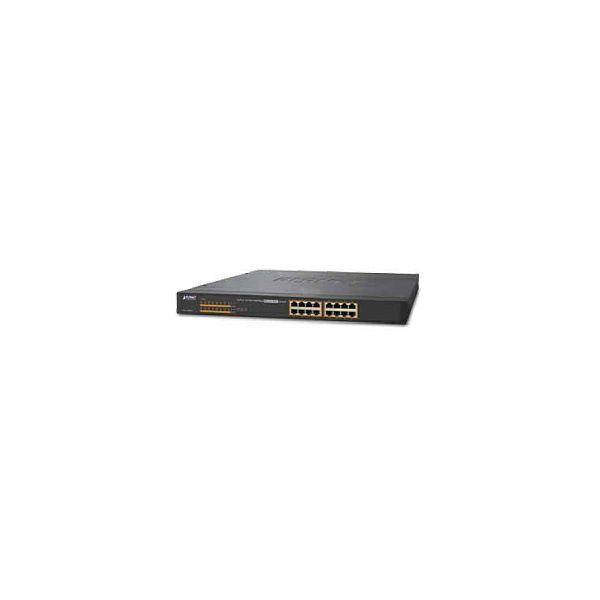 PLANET Gigabit PoE preklopnik 16-port 10/100/1000T 802.3at PoE + 2-Port 1000X SFP (240W)