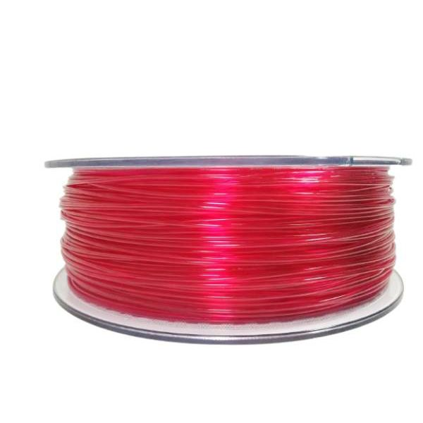 Filament for 3D, PET-G, 1.75 mm, 1 kg, red transpa