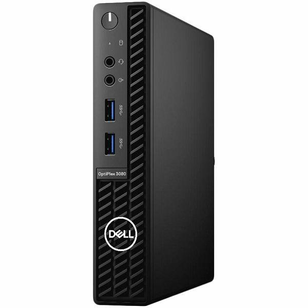 DELL OptiPlex 3080 Micro BTX w/65W, Intel Core i3-10100T (4 Cores/6MB/8T/3.0GHz to 3.8GHz/35W), 8GB (1X8GB) DDR4 non-ECC, M.2 256GB PCIe NVMe, TPM, Speaker, WiFi, BT, KB+M, Win10Pro, 3Y