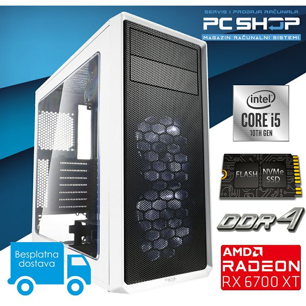 PC Računalo MagazinRS Gamer (Intel i5 10400F 4.3Ghz (Turbo), 6700 XT 12GB, SSD NVMe 500GB, 16GB DDR4 RAM)