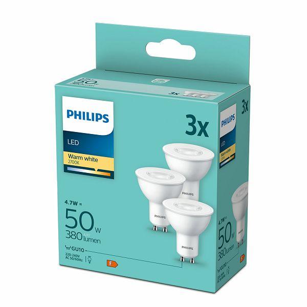 Philips LED žarulja, GU10, topla, 4.7W, 3 kom.