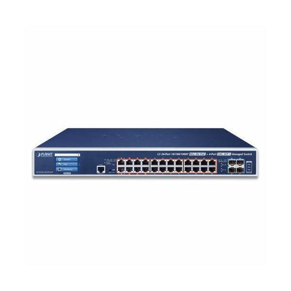 Planet L3 24-Port 10 100 1000T 802.3bt PoE 4-Port 10G SFP Managed Switch with LCD Touch Screen