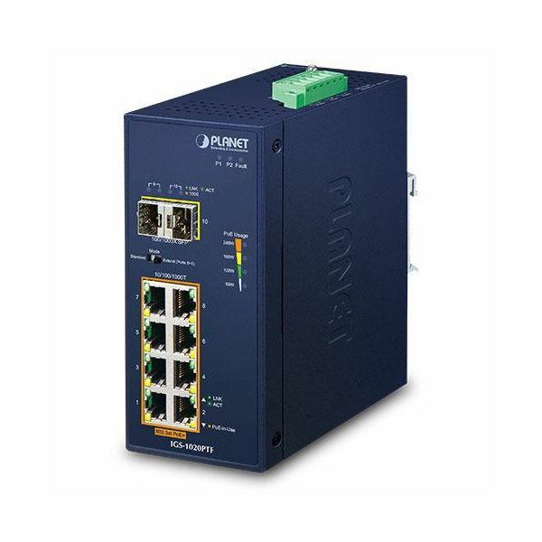 Planet Industrial 8-Port 10 100 1000T 802.3at PoE 2-Port 100 1000X SFP Ethernet Switch w 12V Booster (-40~75 degrees C)