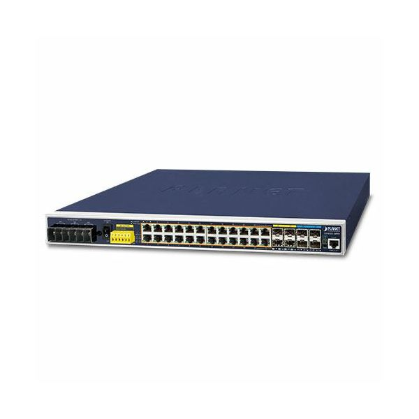 Planet Industrial L3 24-Port 10 100 1000T 802.3at PoE 4-Port 10G SFP Managed Ethernet Switch (-40~75 degrees C)