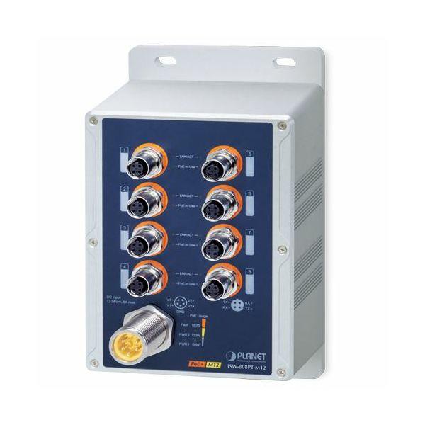Planet Industrial IP67 8-Port 10 100TX M12 802.3at PoE Switch, Waterproof Dustproof