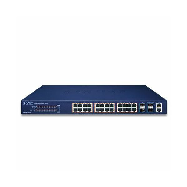 Planet Layer 2 24-Port 10 100 1000T 802.3at PoE 4-Port 10G SFP Stackable Managed Switch