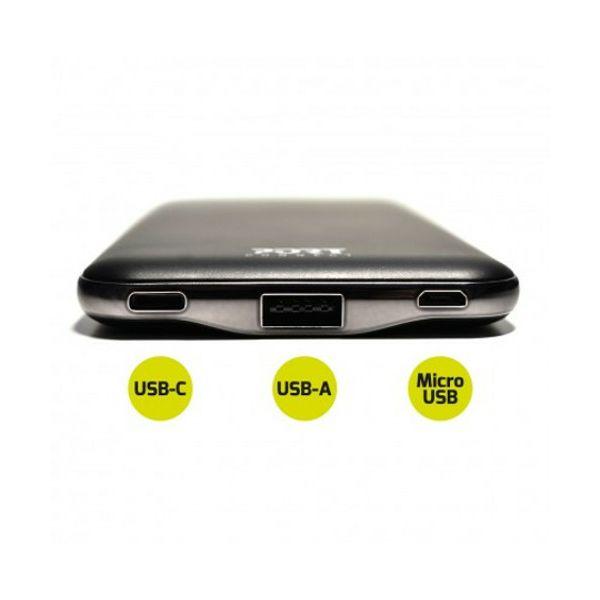 Port slim powerbank 10000 mAh,USB-C, USB-A, crn