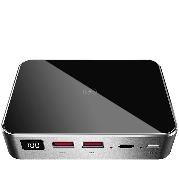 Prestigio Graphene PD PRO, fast charging powerbank, 20000 mAh, 2*USB3.0 QC, 1*Type-C PD, wireless charging interface 10W, LED battery indicator, leather case, cable type C-USB, 60W adapter in the box,