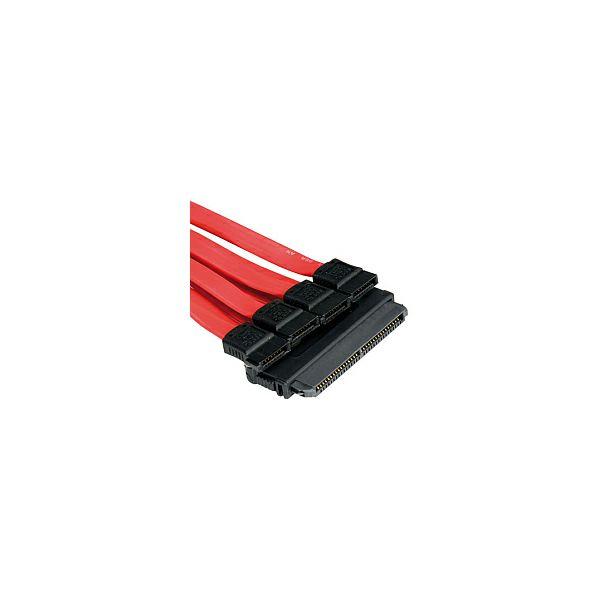 Roline SAS na 4×SATA kabel, 0.5m