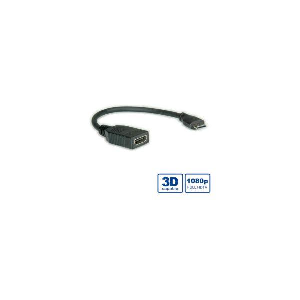 Roline VALUE HDMI High Speed kabel sa mrežom, Type A F - Type C M (mini), 0.15m
