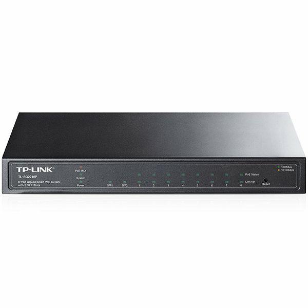 TP-Link 8-port Gigabit PoE Smart preklopnik (Switch), 8×10/100/1000M RJ45 ports + 2×SFP ports, metalno kućište (53W)