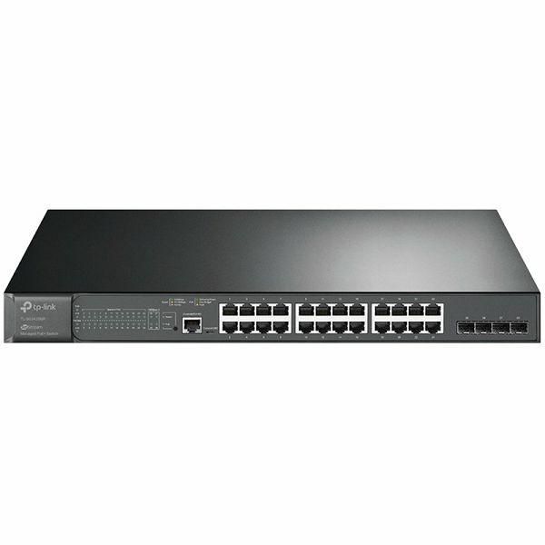 TP-Link JetStream 28-port Gigabit L2+ upravljiv PoE+ preklopnik (Switch), 24×10/100/1000M RJ45 ports, 4×Gbit SFP, RJ45/Micro-USB Console port, 1U 19