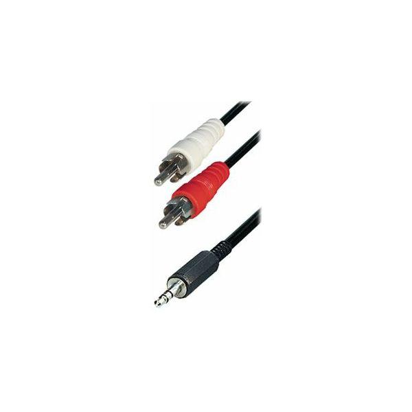 Cable 2x RCA-plug - 3,5 mm stereo plug, 3m