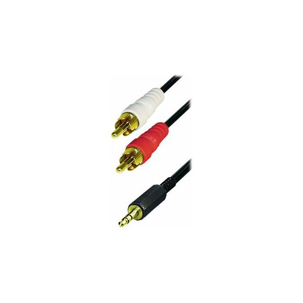Cable 2x RCA-plug - 3,5 mm stereo gold plugs, 1,5m