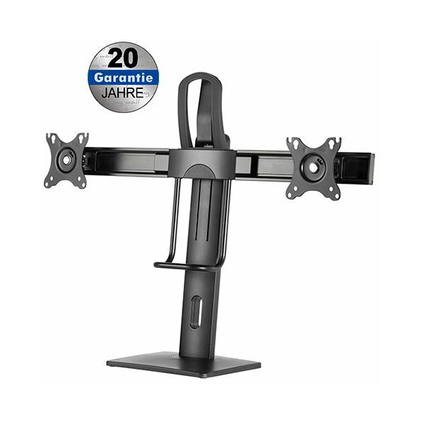 Transmedia Height adjustable desk stand for 2x flat screens with spring system