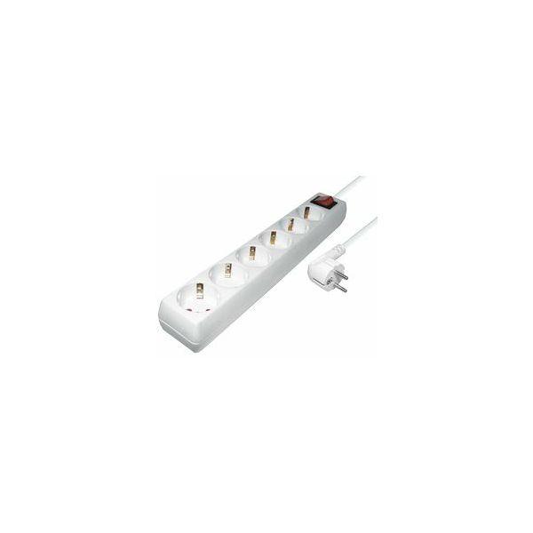 Transmedia 6-way power strip with Switch, white, 5m