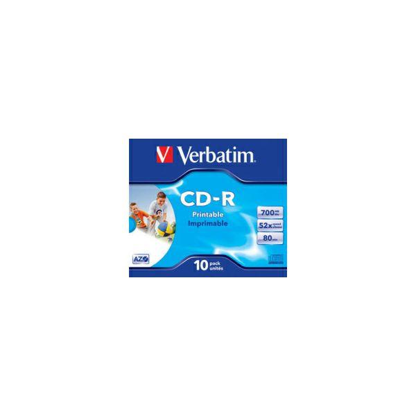 CD-R Verbatim 700MB 52× DataLife+ Wide PRINTABLE 10 pack JC