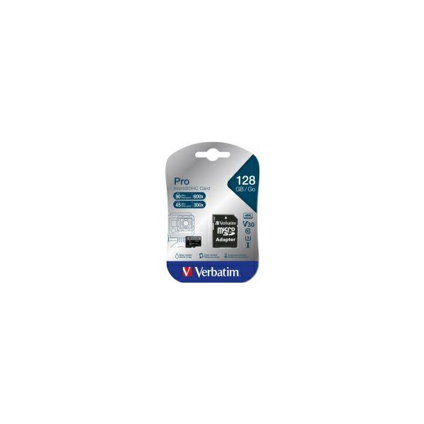 Verbatim memorijska kartica Micro SD Pro (XC/UHS3) 128GB Class 10 Card + adapter