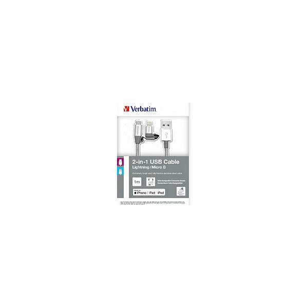 Verbatim Lighting + microB USB kabel Sync & Charge, 2-u-1, 100cm, srebrni