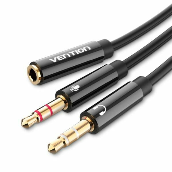 Vention 2x 3.5mm Male to 4 Pole 3.5mm Female Audio Cable 0.3M Black ABS Type