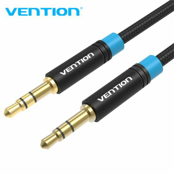 Vention Cotton Braided 3.5mm Male to Male Audio Cable 0.5M Black