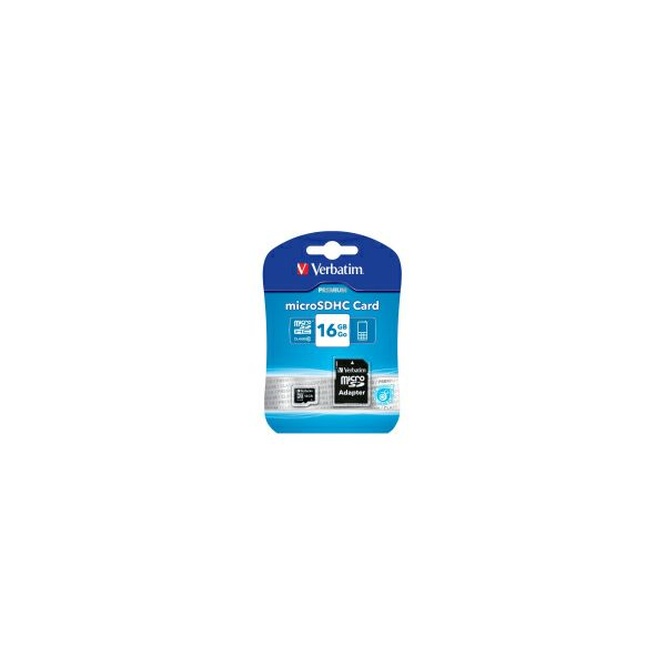 Verbatim memorijska kartica Micro Secure Digital (HC) 16GB Class 10 + adapter, Blister Pack